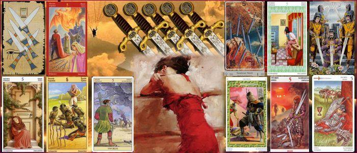 Толкование карт таро пятерка мечей значение