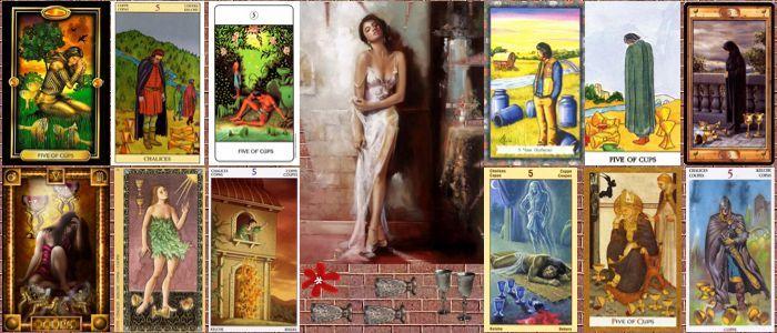 Толкование карт Таро кубки (чаши) | Пятерка кубков (чаш)
