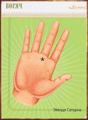 Крест или звезда на ладони руки Звезда Сатурна