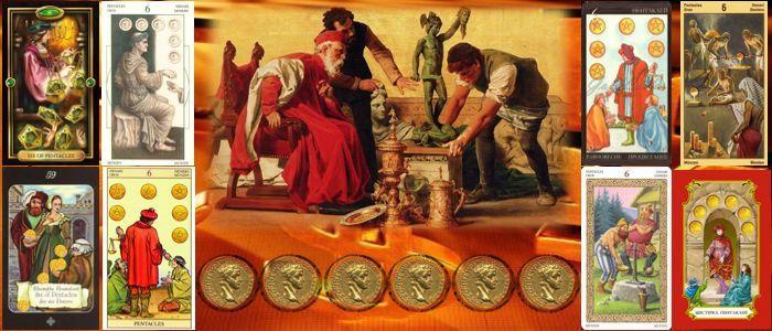 Шестерка пентаклей (денариев) Таро толкование пентаклей (денариев)