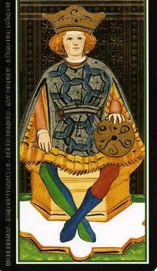 Карты Таро Висконти – Сфорца Король пентаклей
