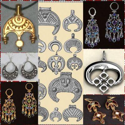 Славянские обереги из серебра и золота купить в Москве, славянские обереги лунница